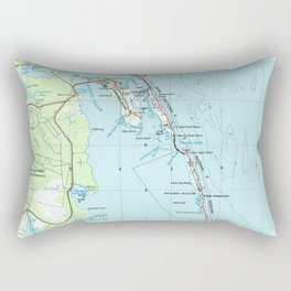 Vintage Southern Outer Banks Map (1957) Rectangular Pillow
