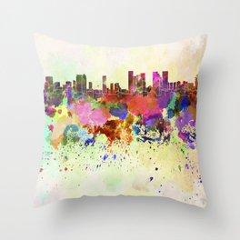Tel Aviv skyline in watercolor background Throw Pillow