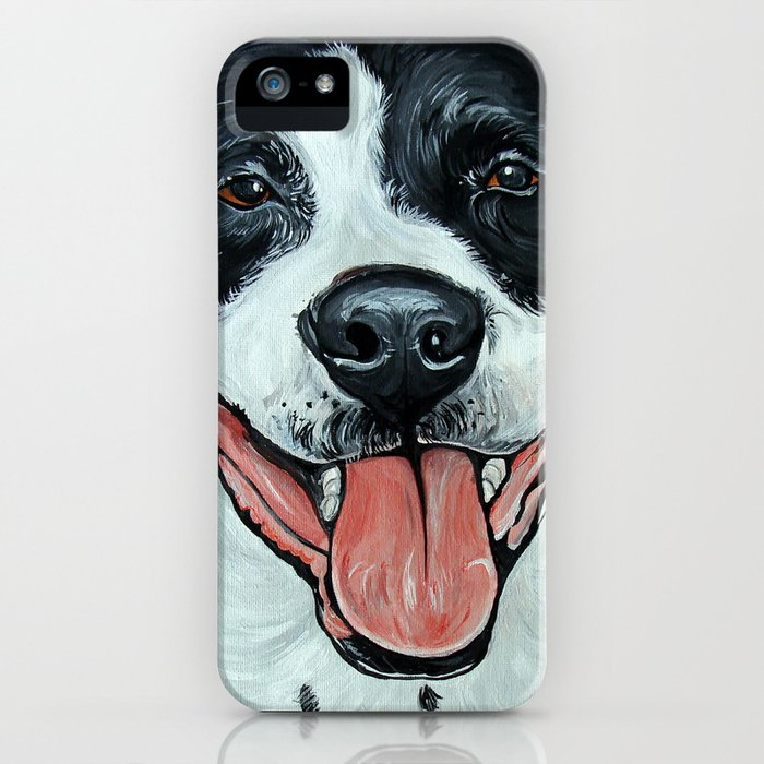 Black & White Adorable Pit Bull  iPhone Case