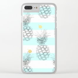 Pineapple express - aqua stripe gold splat Clear iPhone Case