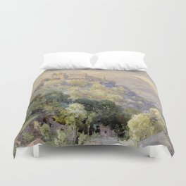 Overlooking the Hohenwerfen Fortress in Salzburg by Edward Theodor Compton Duvet Cover