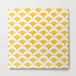 Japanese Fan Pattern 126 Yellow Metal Print