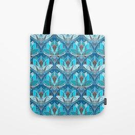 Art Deco Lotus Rising - black, teal & turquoise pattern Tote Bag
