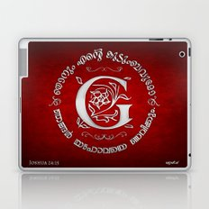 Joshua 24:15 - (Silver on Red) Monogram G Laptop & iPad Skin