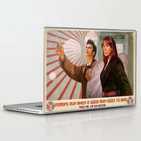 propaganda Laptop & iPad Skins featuring Doctor Who Propaganda Poster by ghimm