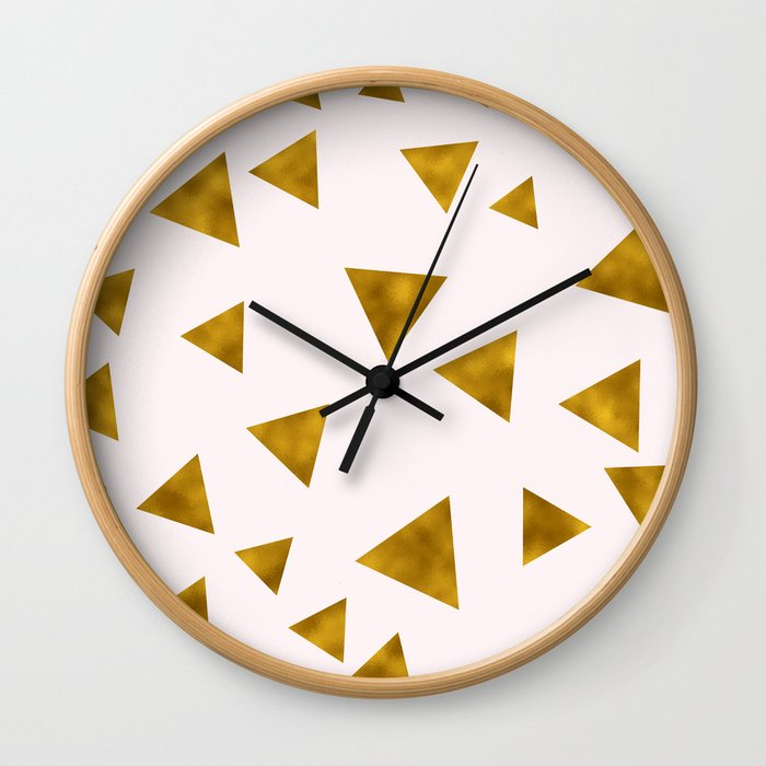 Soft Pink And Rustic Gold Triangles Wall Clock