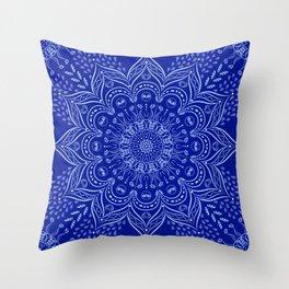 Blue Boho Mandala Throw Pillow