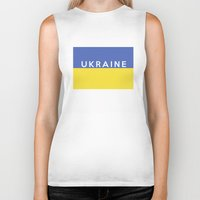 ukraine Biker Tanks featuring Ukraine country flag name text by tony tudor