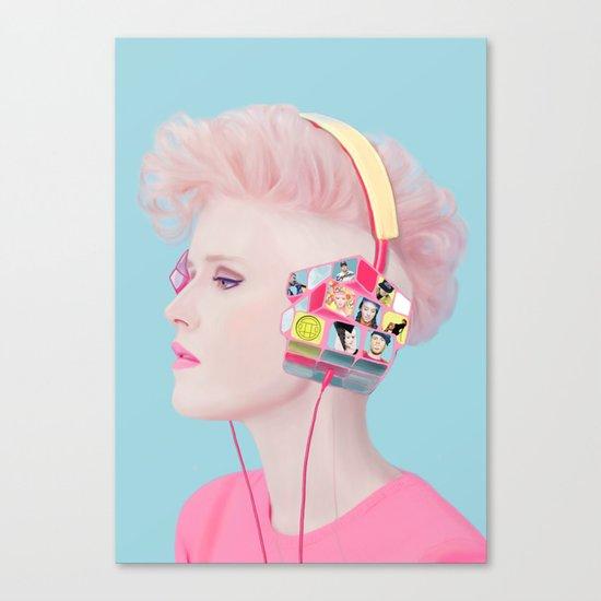 Rubik's headphones Canvas Print