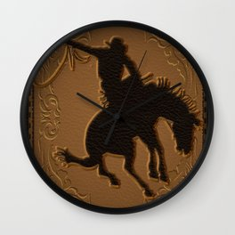 Leather Rodeo Cowboy Wall Clock