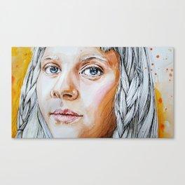 Girl with gray hair Canvas Print