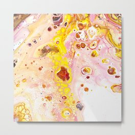 Abstract contemporary painting, galaxy, space, sun, home decor, minimal, red tones Metal Print