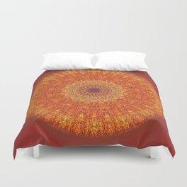 Red Burst Mandala 0118 Duvet Cover