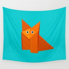 Cute Origami Fox Wall Tapestry