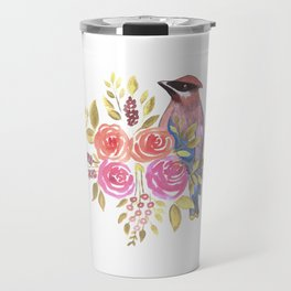 cedar waxwing with pink and orange roses and leaves Travel Mug