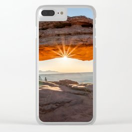 Sunburst at Mesa Arch in the morning Clear iPhone Case