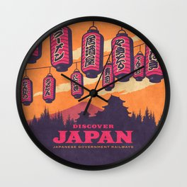 Japan Travel Tourism with Japanese Castle, Mt Fuji, Lanterns Retro Vintage - Orange Wall Clock