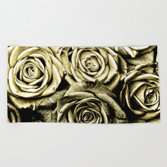Vintage Gold Roses Beach Towel