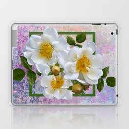White Flowers with Inset Laptop & iPad Skin