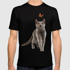Cat Lovers X-LARGE Black Mens Fitted Tee