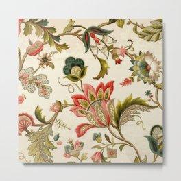 Jacobean Floral Crewel Embroidery Pattern Digital Art Vector Painting Metal Print