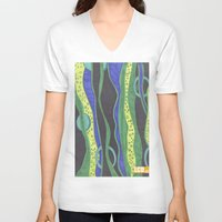 river V-neck T-shirts featuring River by LivingCanvasDesigns