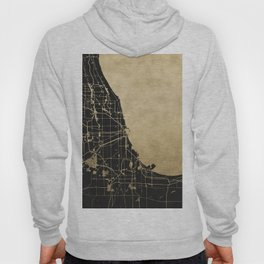 Chicago Black and Gold Street Map Hoody