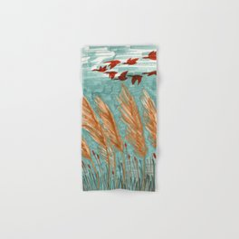 Geese Flying over Pampas Grass Hand & Bath Towel