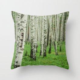 Forrest of white trees Throw Pillow