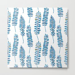 Watercolour Fern Pattern | Blue and Gold Metal Print