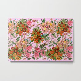 Floral pattern on a pink background  Metal Print