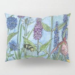 Watercolor Garden Flower Botanical Wildflowers Lady Slipper Orchid Pillow Sham