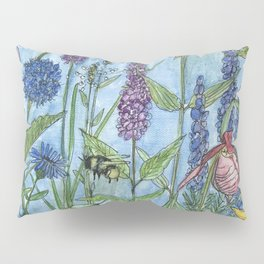 Watercolor Garden Flower Botanical Wildflowers Lady Slipper Orchid Pillow Sham