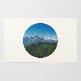 Mid Century, Modern, Round, Circle, Photo, Snow Mountain, Green Valley, Landscape Rug