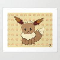 eevee Art Prints featuring Eevelution - Eevee by UncannyViolet