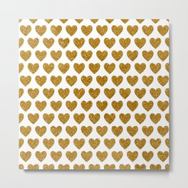 Gold Glitter Love Hearts Metal Print