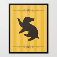 hufflepuff Canvas Prints featuring Hufflepuff by Winter Graphics