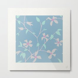 Floral Clematis Vine - Cool Summer Metal Print