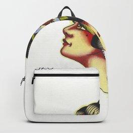 Traditional Girl Head Tattoo Flash Backpack