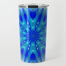 Daylight Blue Kaleidoscope Mandala Travel Mug