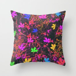 maple leaf in yellow green pink blue red with red and orange creepers plants background Throw Pillow