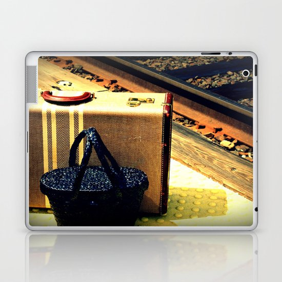 A Vintage Suitcase and A Straw bag Laptop & iPad Skin
