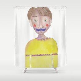 Cartoon Style Man - Mr blue moustasche Shower Curtain