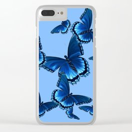 DECORATIVE PATTERNED BLUE on BLUE  BUTTERFLY FLOCK Clear iPhone Case