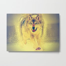 wolf canvas painting Metal Print