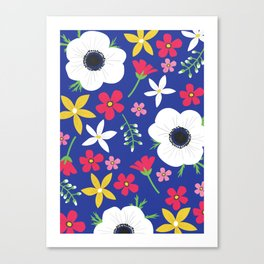 Betty Blue Floral Canvas Print