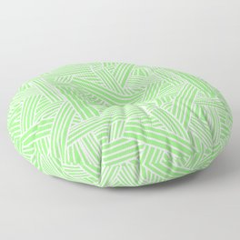 Sketchy Abstract (White & Light Green Pattern) Floor Pillow