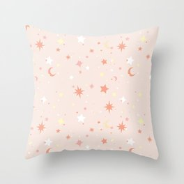 Twinkle Twinkle - Peach Throw Pillow