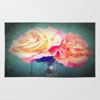 vintage flowers Area & Throw Rugs featuring Vintage Flowers by 2sweet4words Designs