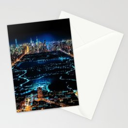 Central Park Midnight New York City Landscape Painting Scene by Jeanpaul Ferro Stationery Cards